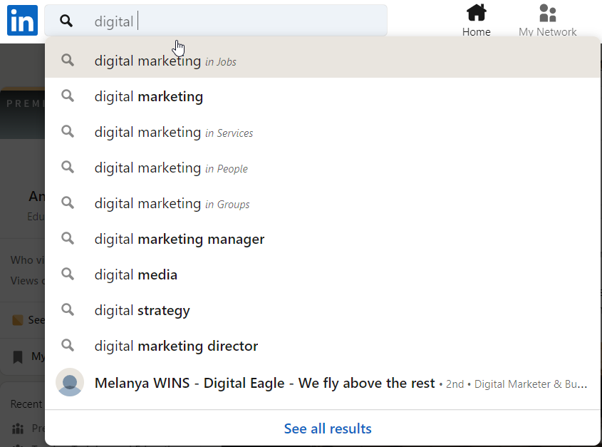 linkedin search filter to find a job